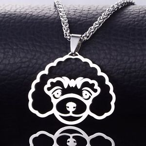 Stainless-Steel-Miniature-Toy-Poodle-Caniche-Pudelhund-Pet-Dog-Pendant-Necklace