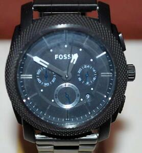 Image Is Loading Fossil Fs 4552 Black Stainless Steel 5 Atm