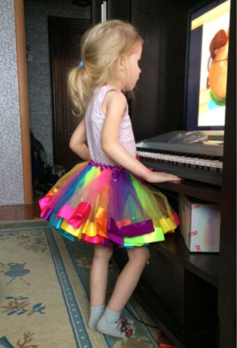 Lovely Handmade Colorful Kids Tutu Skirt Girls Rainbow Tulle Tutu Mini Dress