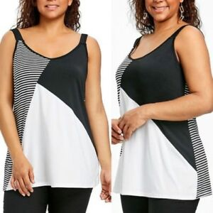 Mujer-Talla-Grande-Top-Corto-sin-Mangas-Camisetas-de-Tirantes-Camisas-Holgado