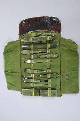 Antique Green Amber Celluloid Manicure Set In Leather Case W/ Button Hook 11 Pcs