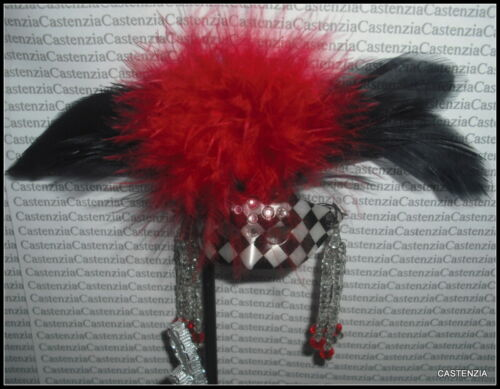 ACCESSORY BARBIE DOLL MATTEL MASQUERADE GALA BLACK RED FEATHER JEWELED MASK
