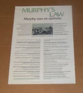 Details about Murphy's Law Poster 23x16 Murphy Was an Optimist