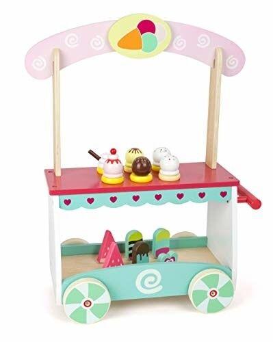 Panier en bois pour enfants avec 12 types différents de jeu de crème glacée pour gaufre à la maison pour tout-petits 8944419128547