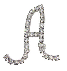 """Initial """"A"""" Pin Brooch Pave Rhinestones Silver Tone 1 1/2"""""""