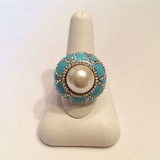 JOAN BOYCE Faux Pearl/White Crystal and Enamel Ring Size 7