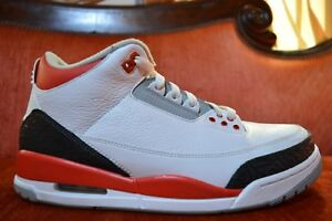 best service f8f7a 64007 Details about WORN 2X 2013 Jordan Retro III 3 Fire Red White Black Cement  136064-120 Size 11.5