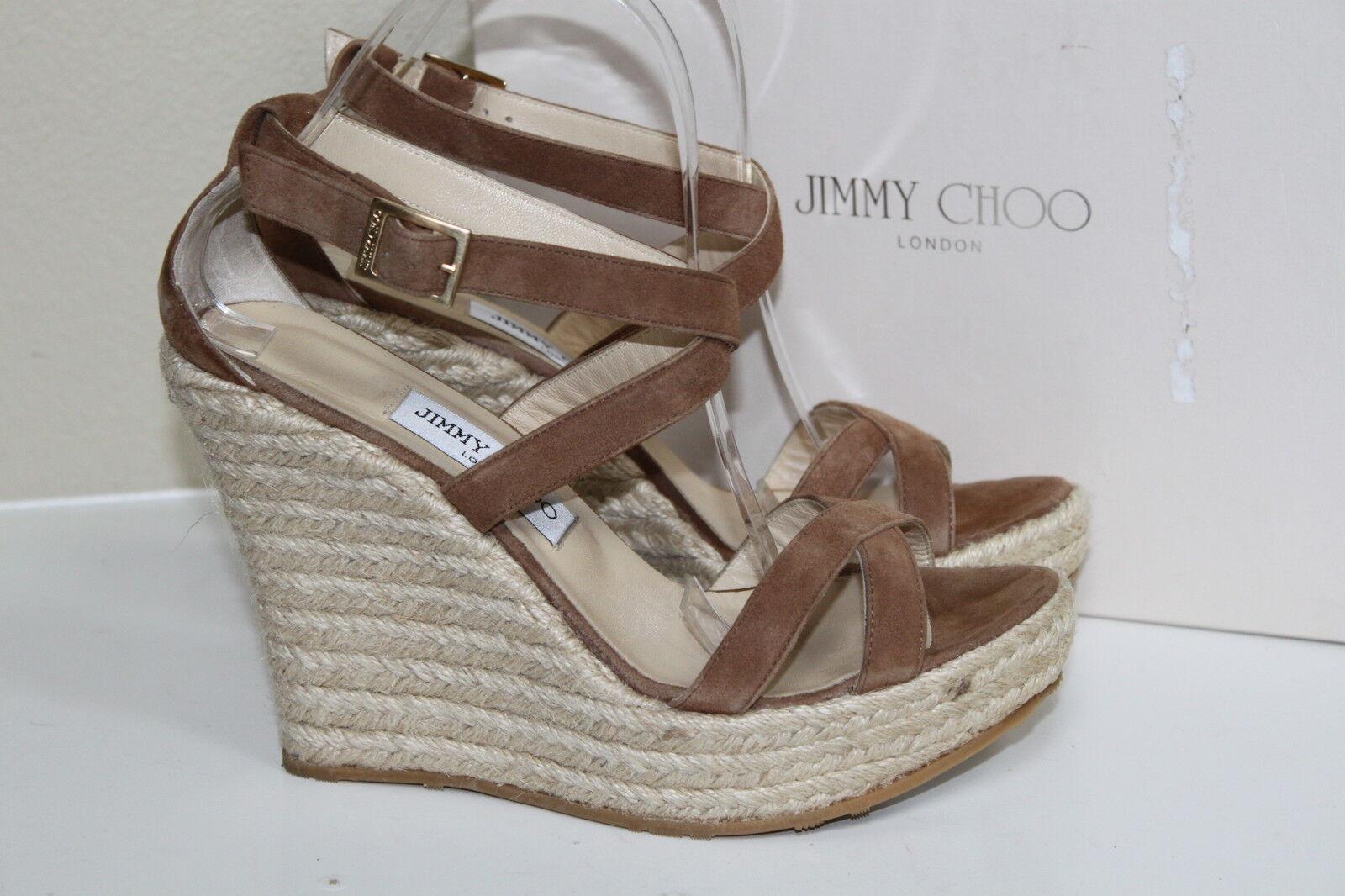 Sz 10 US   40 Jimmy Choo Porto Tan Suede Platform Espadrille Wedge Sandal shoes