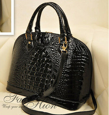 New Top ITALIAN Womens Ladies Style Tote Bag Handbag Crocodile Alligator Pattern
