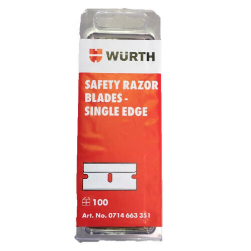 Wurth Safety Razor Blades Single Edge. Pack of 100 Blades for blade scraper