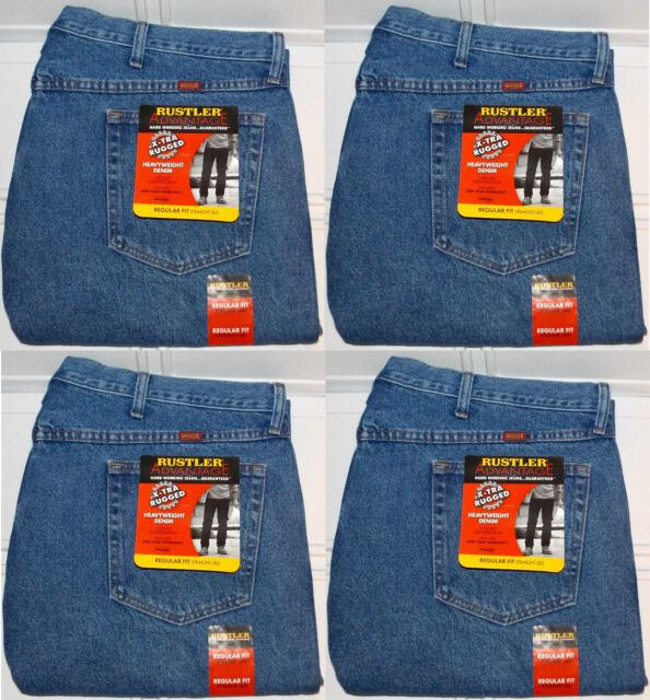 64ffaf3b Rustler By Wrangler Mens Regular Fit Straight Leg Med Blue Stonewash Denim  Jeans