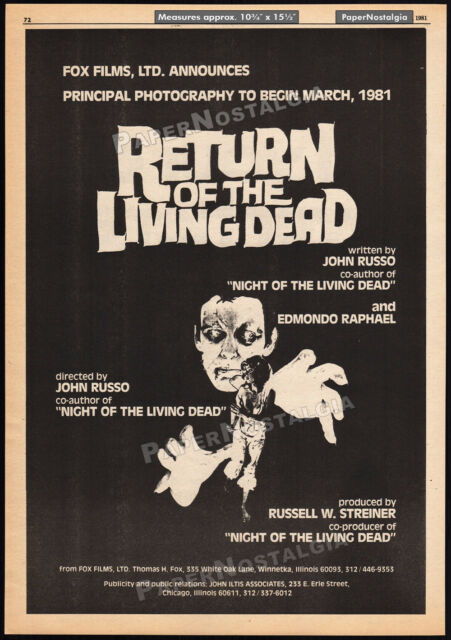 RETURN OF THE LIVING DEAD__Original 1981 early Trade AD promo / poster__horror