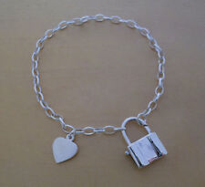 """925 STERLING SILVER OVAL LINKED CHAIN  CHARM BRACELET 7.5"""" WITH HEART & PADLOCK"""