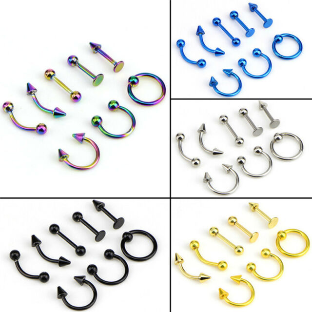 Mixed 8PCS 16G Stainless Steel Helix Piercing Jewelry Ear Eyebrow Nose Lip T RAC