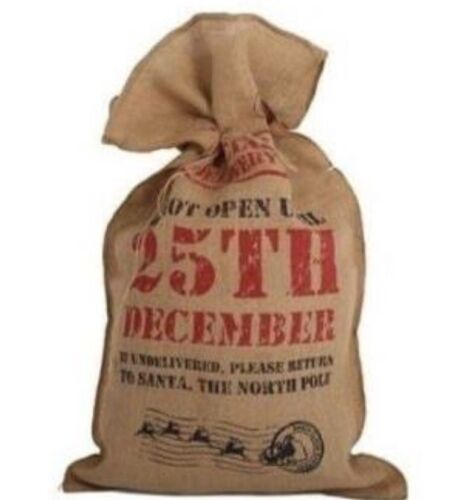 Vintage Shabby Chic Large Jute Hessian Christmas Santa Sack 78 X 48cm LAST 1