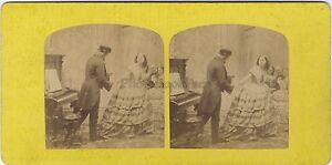 Scena Da Genere il Pianista Foto Stereo Vintage Albumina Ca 1860