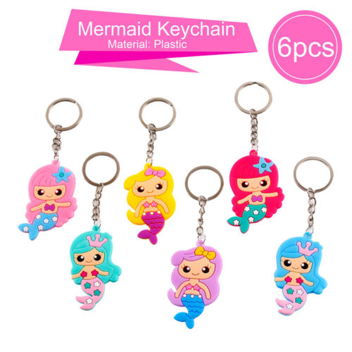 6 PCS Mermaid Rubber Necklace Bracelet Keychain Baby Shower Birthday Party Decor