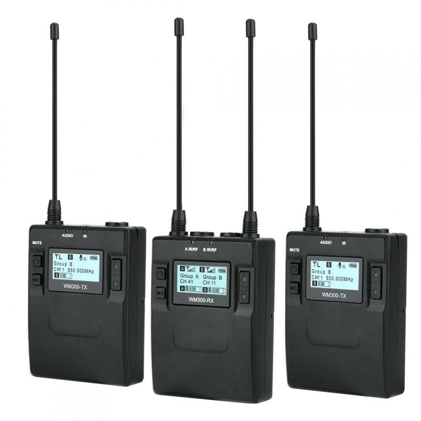 COMICA CVM-WM300A 1R2T UHF Wireless Clip-on Microphone Transmitters Receiver Kit