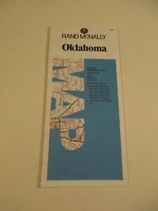 1988-Rand-McNally-Oklahoma-Blue-White-State-Highway-Travel-Road-Map-Red-Box