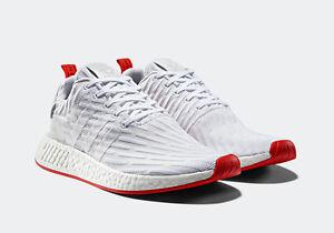Details zu Adidas NMD R2 PK CORE RED White Primeknit BA7253 Boost R1 Sz 9 NEW