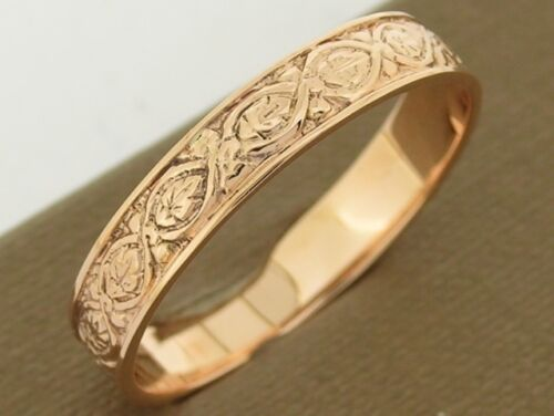 R019> Genuine SOLID 9ct Rose GOLD Etched Vintage Wedding Band Ring size S