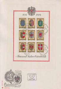 Osterreich-1000-Jahre-Osterreich-Wappenblock-Ersttag-10-Stueck