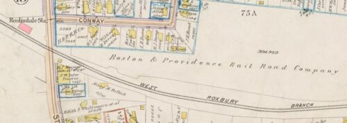 1896 BOSTON MA. COPY PLAT ATLAS MAP 24x36 ROSLINDALE STATION BROMLEY G.W