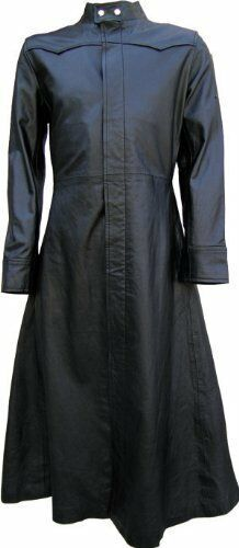 Mens Pure LEATHER Goth Steampunk Gothic Van Helsing Matrix Trench Coat Mans