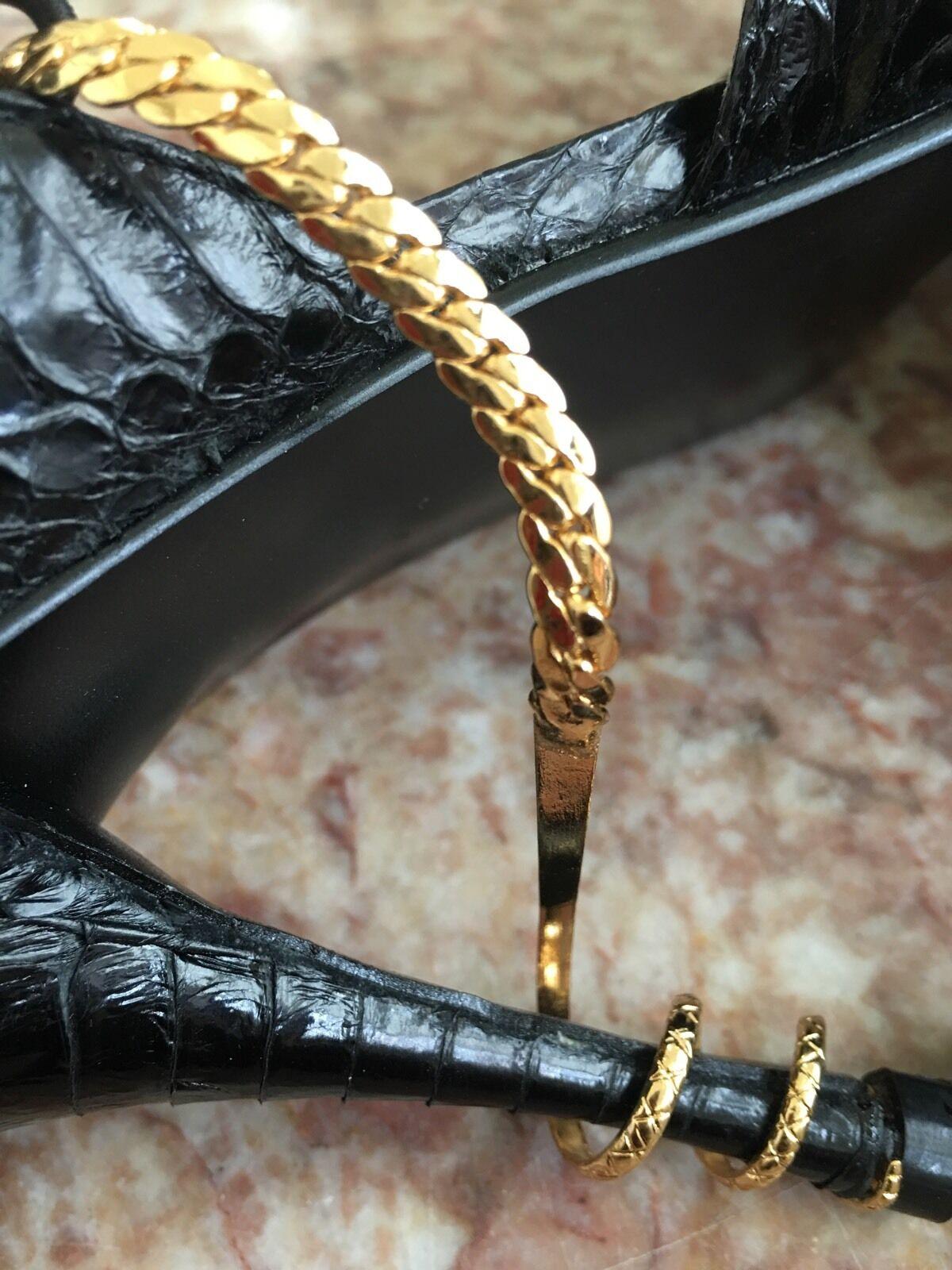 NEW NEW NEW COLIN STUART GENUINE SNAKESKIN Gold SNAKE CHAIN STILETTO HEEL PUMPS Größe 7 9b59f2