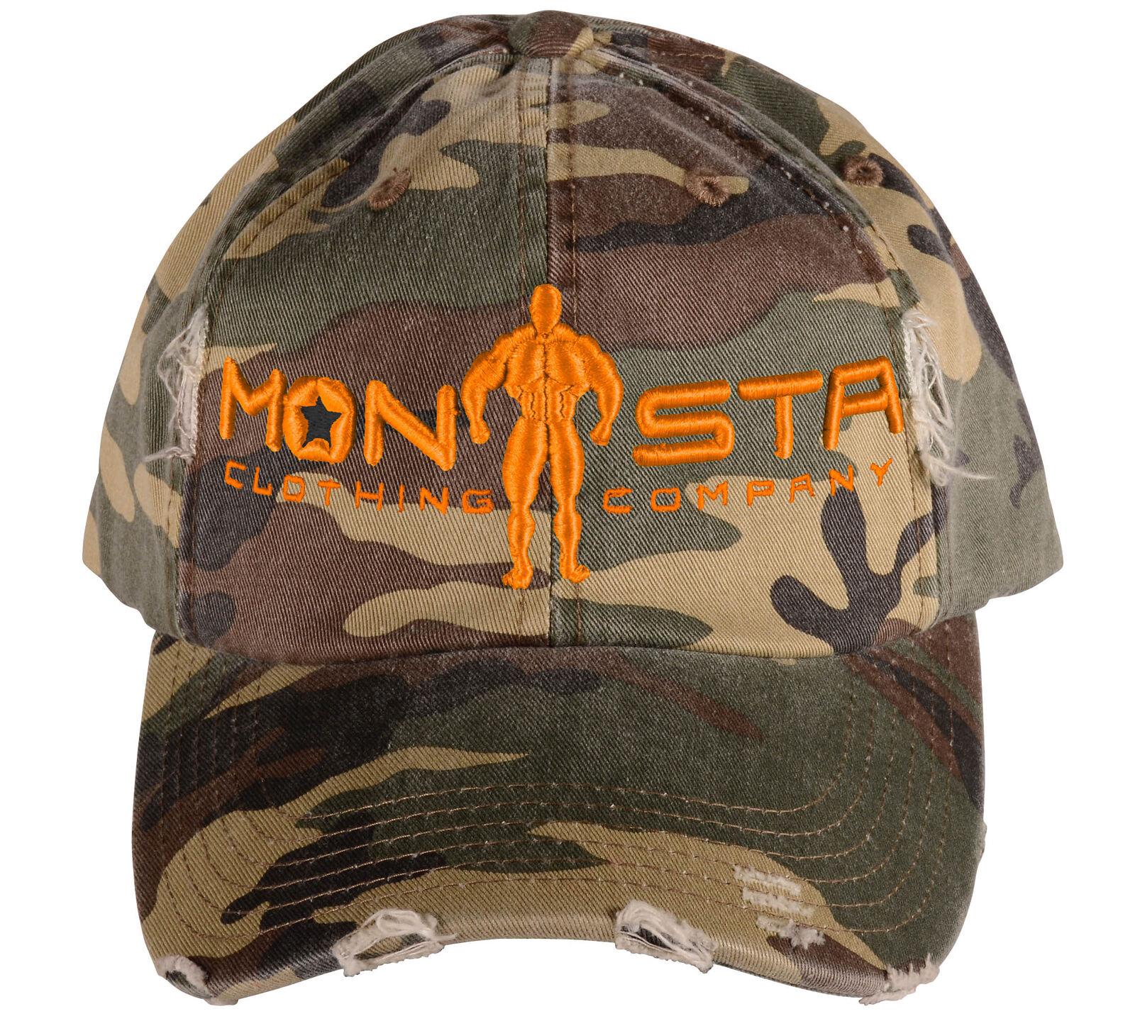 Monsta Clothing Distressed Camo Military Green Hat Curved Bill Cap / Hat Green Orange f9334e