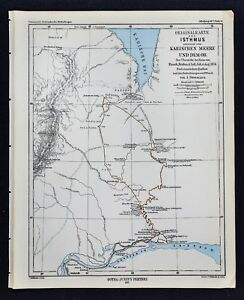1877 Petermann Map Arctic Exploration Siberia Russia Ob River to ...
