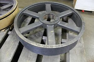 """4 GROOVE V BELT PULLEY SHEAVE OD 37-1//2/"""" 662 RPM MAX 4-1//4/"""" BORE"""