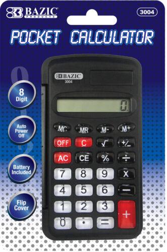 BAZIC 8-Digit Pocket Size Calculator w// Flip Cover Case Pack 24