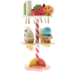 Набор из 11 шт. деревянная клубника 3-слой мороженого подставка леденец ролевой игры дети