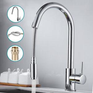 Pull-Out-Spray-Kitchen-Tap-Basin-Sink-Mixer-Taps-Mono-Chrome-Swivel-Spout-Faucet