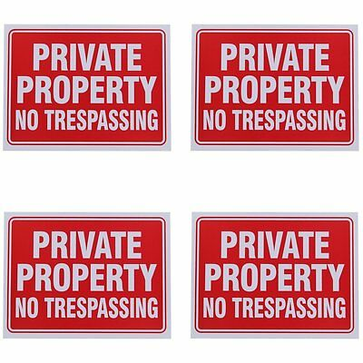 4 Pack Private Property No Trespassing Sign 9 x 12 Inch Home Plastic Sign
