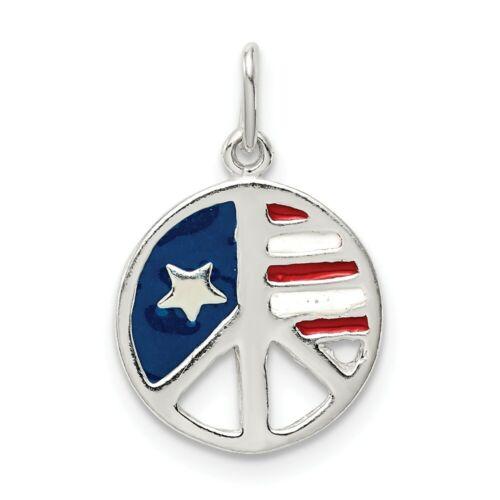 .925 Sterling Silver Cut Out EMAILLE petit drapeau américain Paix Signe Pendentif