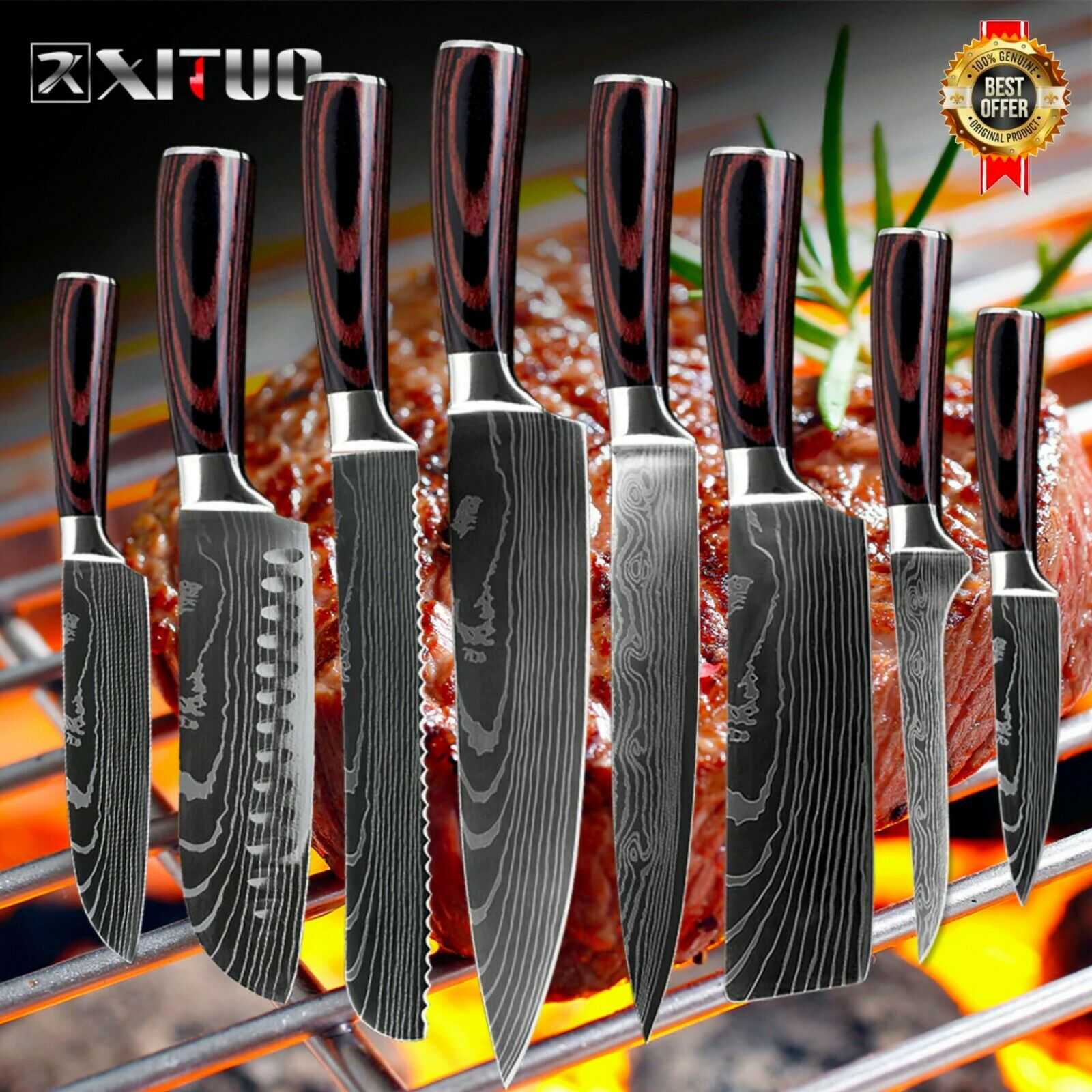 Knife Set 8 Kitchen Chef Japanese Damascus Steel Knives Sharp Cleaver Gift Knife