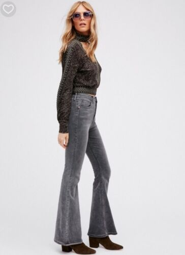 NEW Free People Cyndi High Rise Flare Leg Jeans in Gray