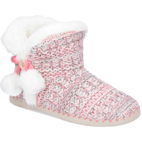 Da Donna con Boot Pantofole Rosa POM POM Warm foderato Mocassini Divaz 3 a 8