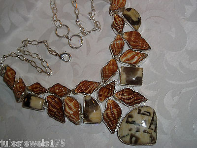 New Sterling Silver Overlay 925, Shell, Ocean Jasper Bib Necklace