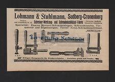 SUDBERG-CRONENBERG, Anzeige 1909, Lohmann & Stuhlmann Schreiner-Werkzeuge