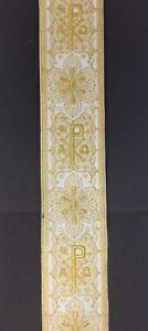 Vintage-Religioso-A-amp-o-Rho-Design-Lame-Color-Oro-su-Bianco-Bendaggio-8-3cm-C146
