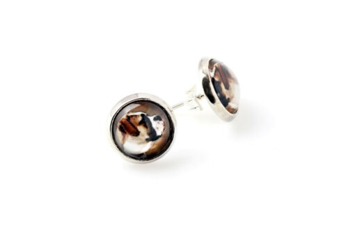 American Bulldog.Pet in your ear Earrings with box Photojewelry Handmade UK