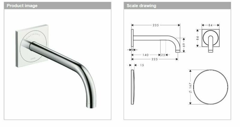 HANSGROHE AXOR UNO 225MM WALL SPOUT 38120000
