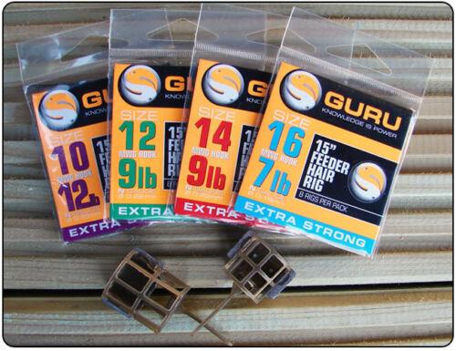 "COARSE FISHING GURU SIZE 12 BARBLESS 15/"" FEEDER HAIR RIGS x 8 FOR MATCH"