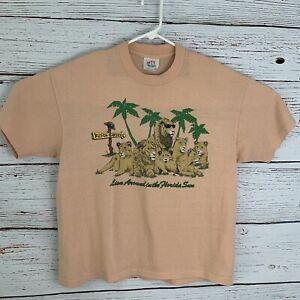 Busch-Gardens-Womens-sz-XL-Orange-Shirt-Vtg-Single-Stitch-Lion