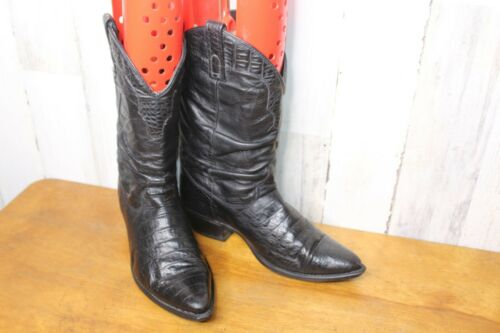 Black Croc Print Leather 8.5 D Vintage Western Men