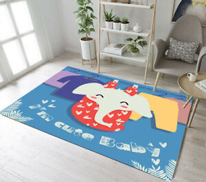 Cartoon Elephant Soft Floor Rug Carpet