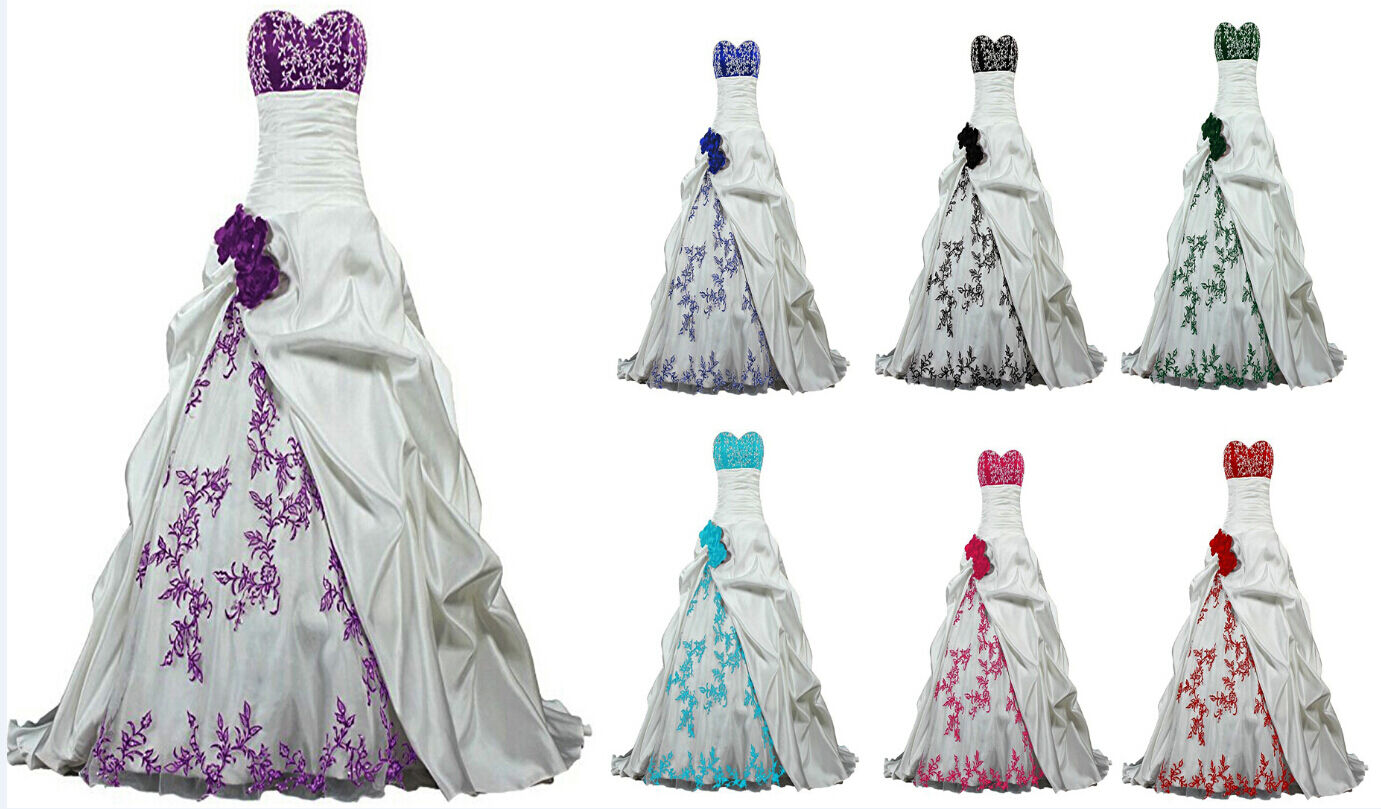 Embroidery Satin Wedding Dress Bridal Formal Gown Size 6-8-10-12-14-16-18